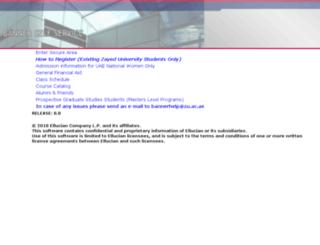 bannerweb.zu.ac.ae screenshot