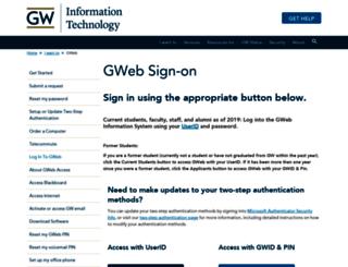 banweb.gwu.edu screenshot