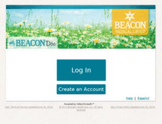 beaconhealthsystem.followmyhealth.com screenshot