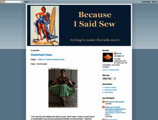 becauseisaidsew.blogspot.com screenshot