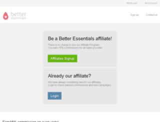 betteressentials.postaffiliatepro.com screenshot