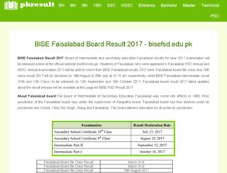 bisefsd.pkresult.com screenshot