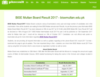 bisemultan.pkresult.com screenshot