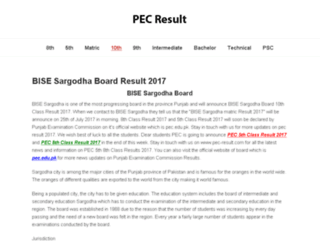 bisesargodha.pec-result.com screenshot