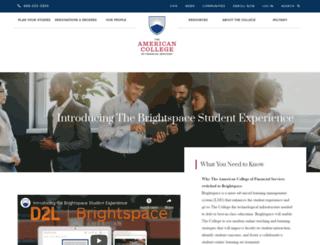 blackboard.theamericancollege.edu screenshot