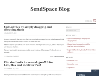 blog.sendspace.com screenshot