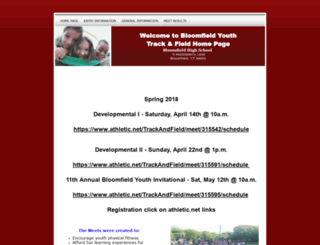 bloomfieldyouthtrackandfield.org screenshot