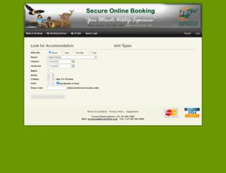 bookings.kznwildlife.com screenshot