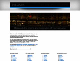 britishsurnames.co.uk screenshot