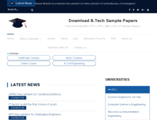 btechsamplepapers.in screenshot