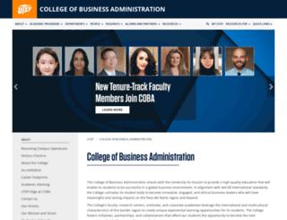 business.utep.edu screenshot
