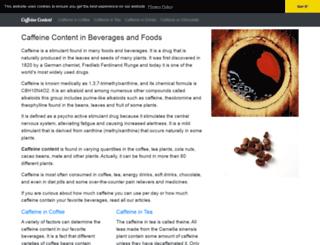 caffeine-content.com screenshot