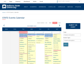 calendar.indstate.edu screenshot