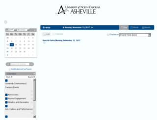 calendar.unca.edu screenshot