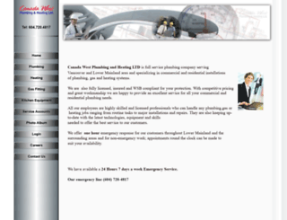 canadawestplumbing.com screenshot