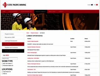 careers.citicpacificmining.com screenshot