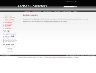 carise.wikidot.com screenshot