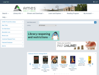 catalog.amespubliclibrary.org screenshot