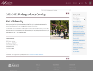 catalog.cairn.edu screenshot