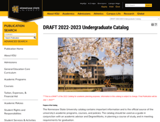 catalog.kennesaw.edu screenshot