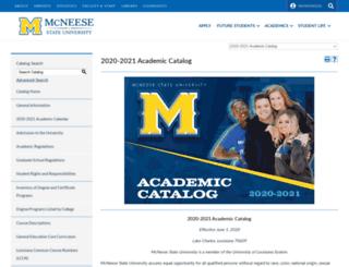 catalog.mcneese.edu screenshot
