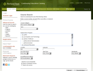 ceedcatalog.pdx.edu screenshot