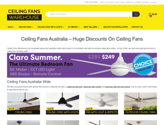 ceilingfanswarehouse.com.au screenshot