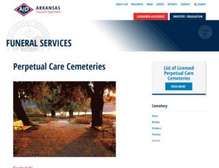 cemeteryboard.arkansas.gov screenshot