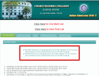 charuchandracollegeadmission.com screenshot