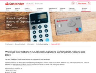 chipkarte.santanderbank.de screenshot