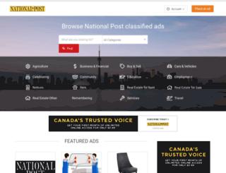 classifieds.nationalpost.com screenshot