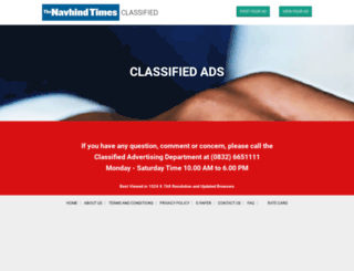 classifieds.navhindtimes.in screenshot