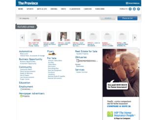 classifieds.theprovince.com screenshot