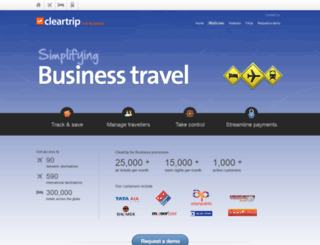 cleartripforbusiness.com screenshot