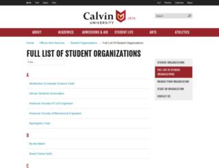clubs.calvin.edu screenshot