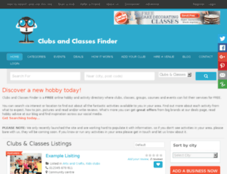 clubsandclassesfinder.com screenshot