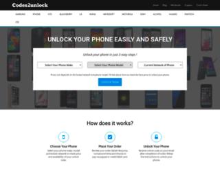 codes2unlock.com screenshot