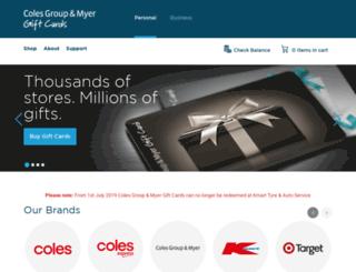 coles-corporateservices.cashstar.com screenshot