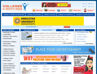 collegesinsouthindia.com screenshot