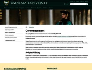 commencement.wayne.edu screenshot
