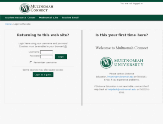 connect.multnomah.edu screenshot