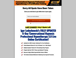 conversationalhypnosiscertification.com screenshot