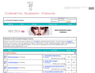 cosmeticsurgeryforums.co.uk screenshot