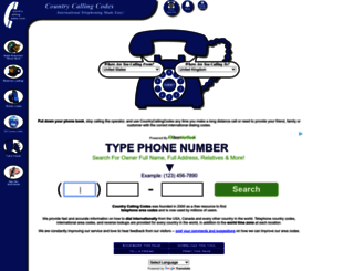 countrycallingcodes.com screenshot