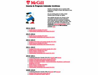 coursecalendar.mcgill.ca screenshot