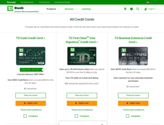 creditcards.tdcardservices.com screenshot