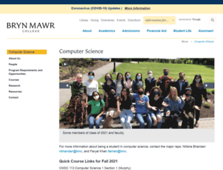 cs.brynmawr.edu screenshot