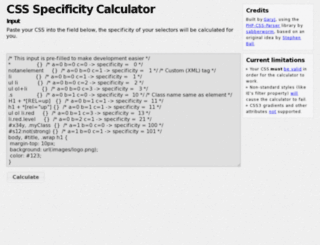 css-specificity.info screenshot