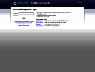 cuneaccounts.cune.edu screenshot