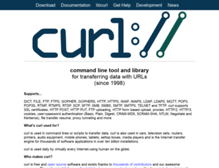 curl.haxx.se screenshot
